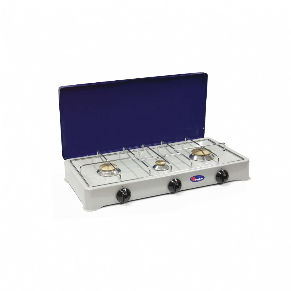 3 burners gas stove for outdoor use mod. 5328GB (50 mbar). Color: Grey/Blue