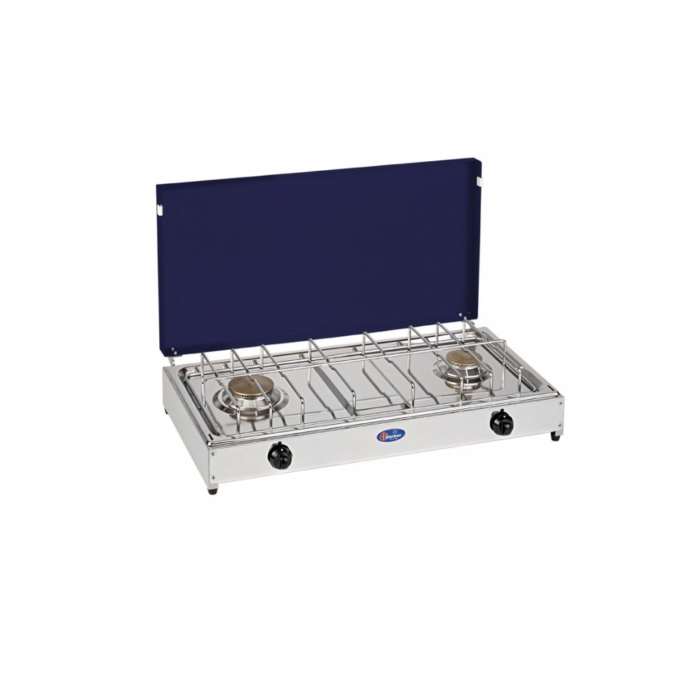 2 burners gas stove for outdoor use mod. 5522GB. Color: Grey/Blue