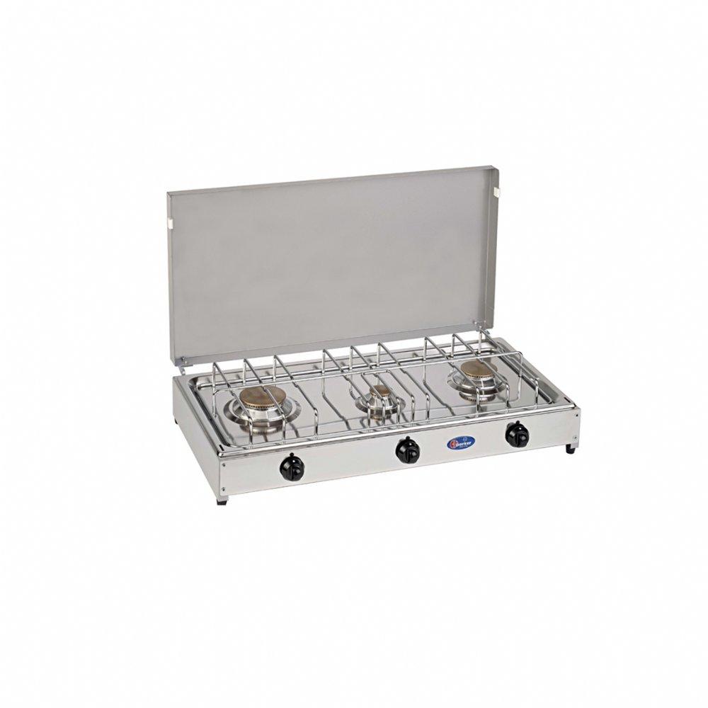 Fornello a gas a 3 fuochi per uso esterno mod. 5523G. Colore: Grigio