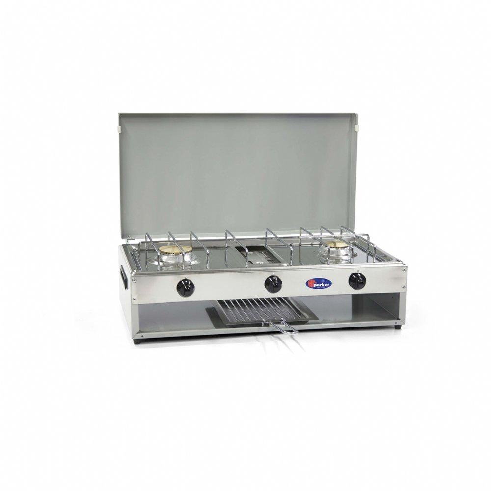 Fornello a gas a 2 fuochi per uso esterno mod. 552G (50 mbar). Colore: Grigio
