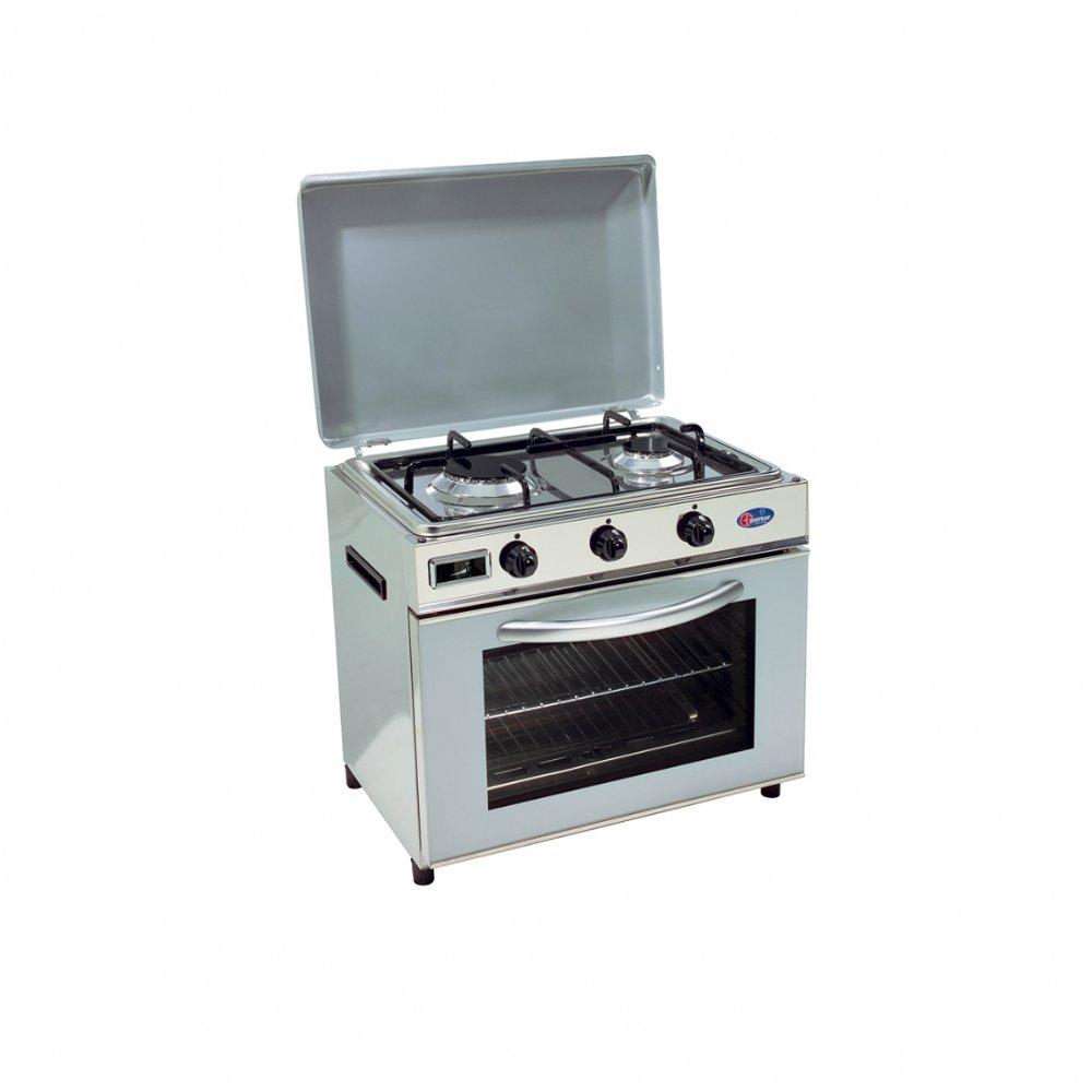 Baby cucina a gas metano per uso domestico mod. FO600 SAGGPm. Colore: Fianchi inox e coperchio grigio