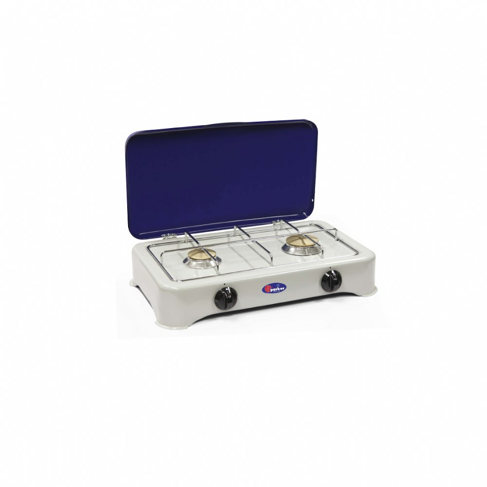 2 burners natural gas stove for outdoor use mod. 5326 GBm. Color: Grey/Blue