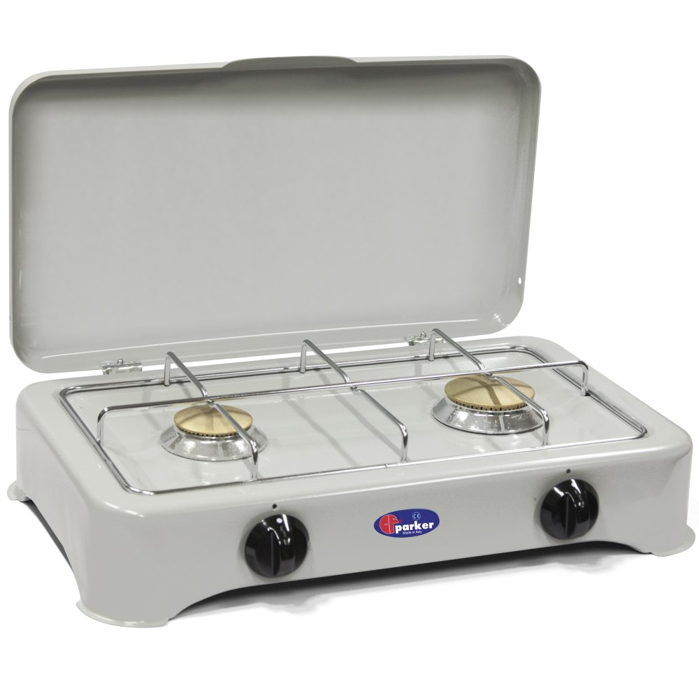 2 burners multigas stove for outdoor use mod. 5326G Mu. Color: Grey